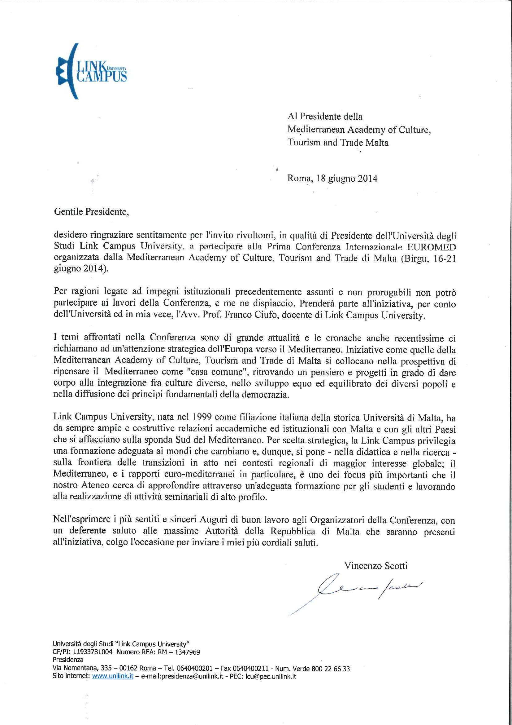 Lettera Presidente Vincenzo Scotti